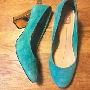 Teal Suede Pumps with Gold Heel size 9.5
